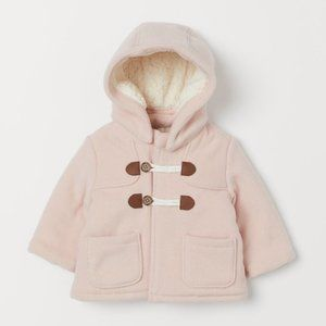 H & M Pile-lined Duffle Coat Light Pink With Hood